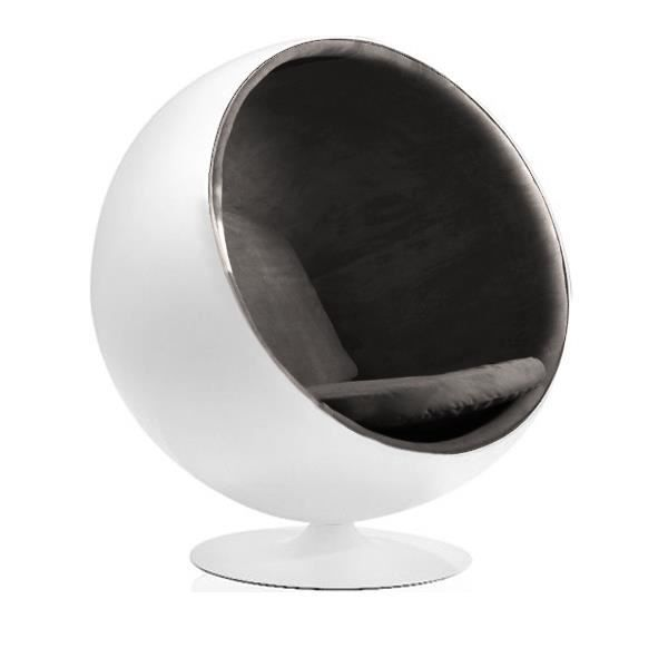 fauteuil boule ball chair blanc taupe achat vente fauteuil cdiscount. Black Bedroom Furniture Sets. Home Design Ideas
