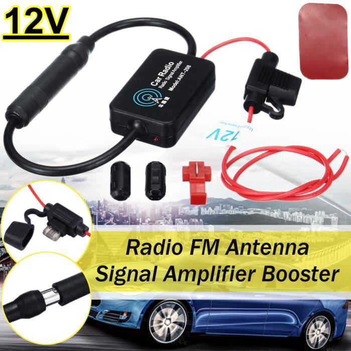 Antenne amplifi/ée FM int/érieure autoadh/ésive pour Auto autoradio Voiture Camion Camper sound-way