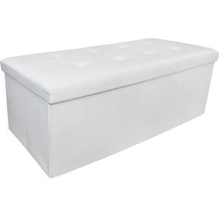 pouf coffre de rangement pliable blanc 110x38x38cm achat vente tabouret bois cdiscount. Black Bedroom Furniture Sets. Home Design Ideas