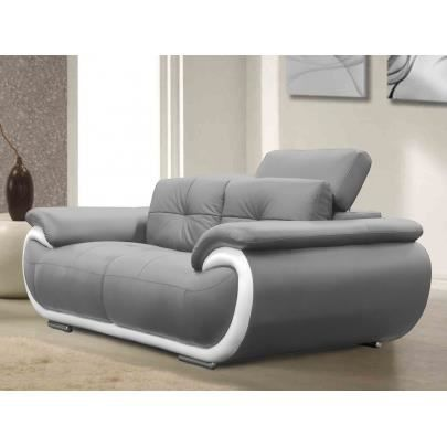 canap 2 places en cuir smiley bicolore gris achat vente canap sofa divan cdiscount. Black Bedroom Furniture Sets. Home Design Ideas