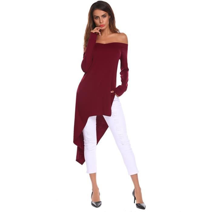 Sexy Slit R2ho7 Off Taille Blouse Fit Tops Slim Sleeve 38 Long shoulder V Women's Low High Side Neck Shirt xSwPXx1q