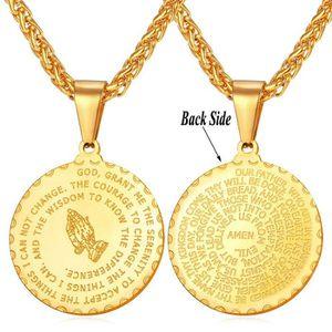 SAUTOIR ET COLLIER U7 Pendentif Médaille-Main de Prière-Verset de Bib