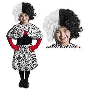 Childrens dalmate Imprimer Cape velours fantaisie robe Costume Avec Perruque Accessoire