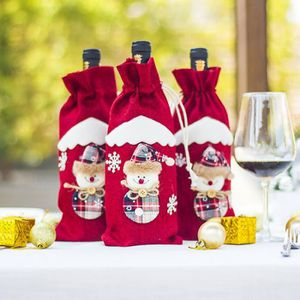 VIN ROUGE Noël vin rouge set toile de jute Noël bouteille de