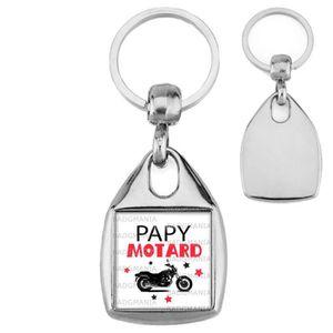 PORTE-CLÉS Porte-Clés Carré Acier Papy Motard - Moto fond bla