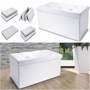 BANC Banc avec coffre rangement pliable - Blanc - 100 x