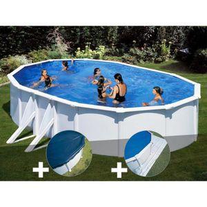 PISCINE Kit piscine acier blanc Gré Bora Bora ovale 6,34 x