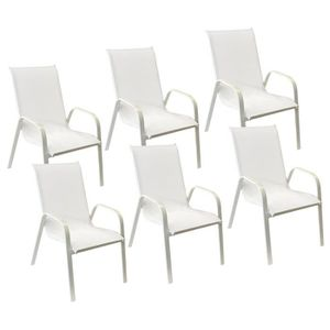 FAUTEUIL JARDIN  Lot de 6 chaises MARBELLA en textilène blanc - alu