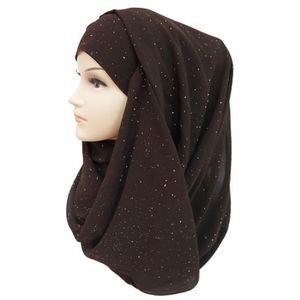 ECHARPE - FOULARD Écharpe Hijab pour Femme Musulmane en Briller Or G
