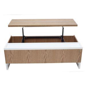 TABLE BASSE Miliboo - Table basse design relevable bois et bla
