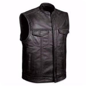 BLOUSON - VESTE Gilet cuir Biker Anarchy Taille XL