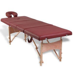 Table de massage Table de Massage Pliante 4 Zones Rouge Cadre en Bo