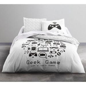 HOUSSE DE COUETTE ET TAIES TODAY Parure de couette Geek Game - Coton - 200 x