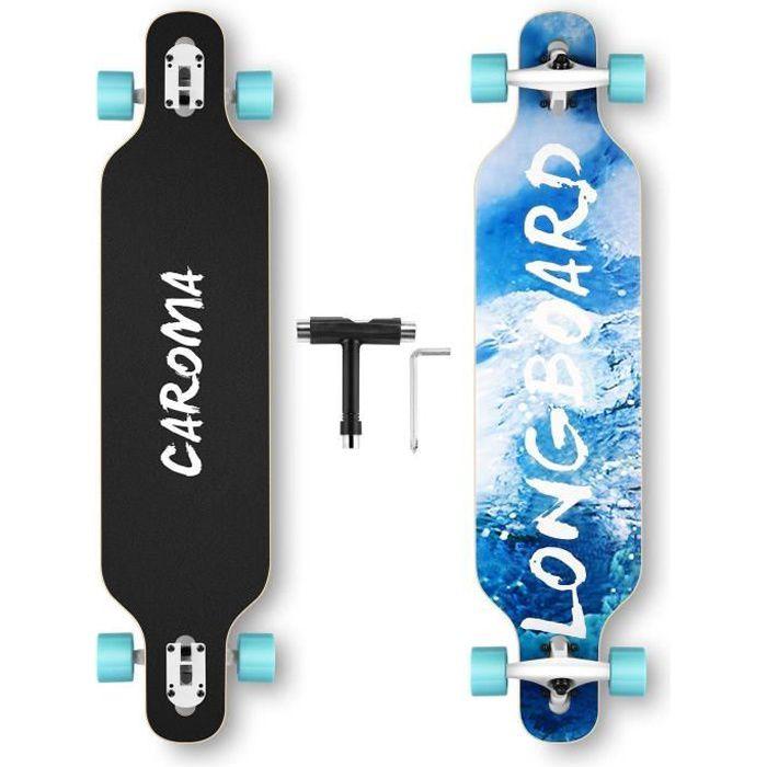 Skate Board complet 8 Layers Maple Skateboard Longboards pour Débutants Ados Filles Garçons-Bleu