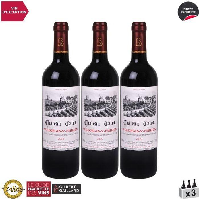 Château Calon Saint-Georges-Saint-Emilion Rouge 2010 - Lot de 3x75cl - Vin AOC Rouge de Bordeaux - Édition 2014 Guide Hachette - Cép