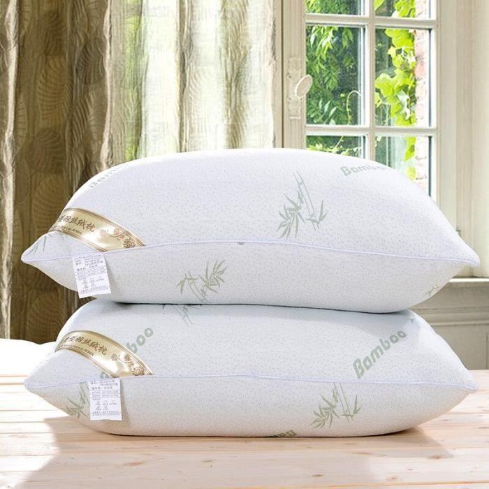 Oreiller en Fiber de bambou 60x40cm, 1 pièce, soins de santé, lit confortable, soutien du sommeil, soulagement de la [41CA633]