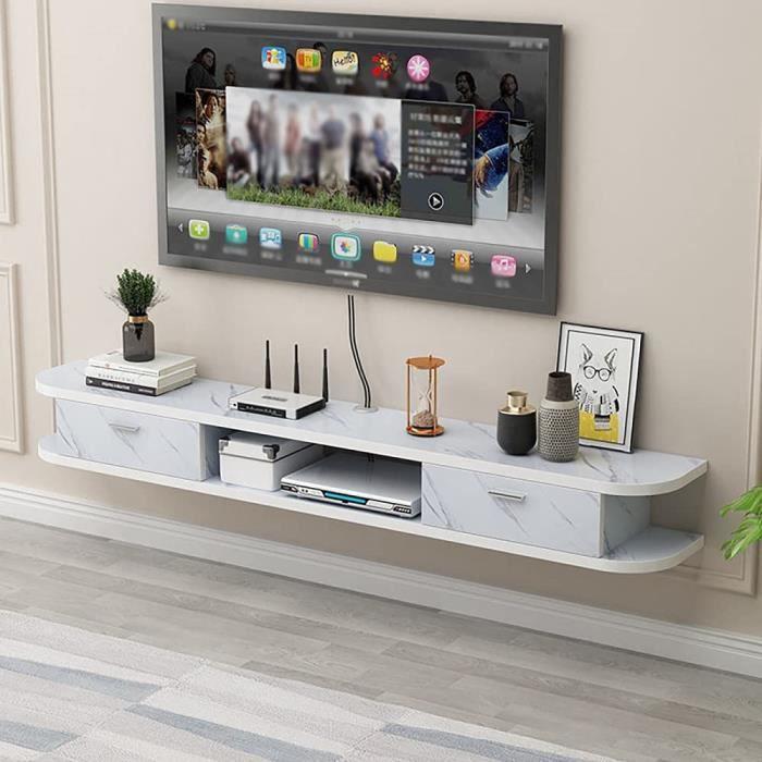 Meuble TV Suspendu,Panneau texture roche Meuble TV Flottant,Petit Appartement éTroit Unité de Divertissement Flottante Simple P104