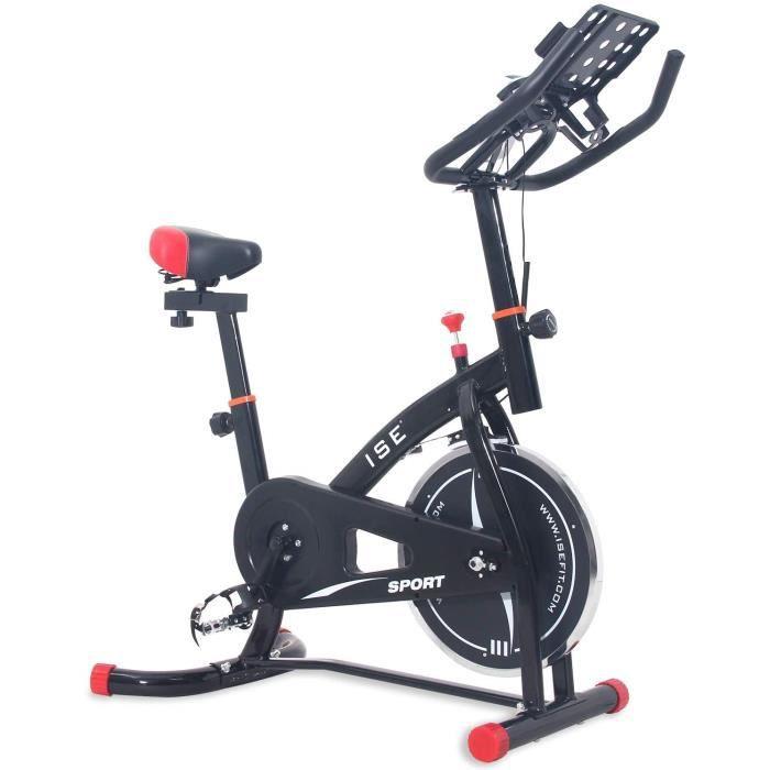 Vélo d'intérieur Vélo d'Appartement Vélo Spinning Bike,Poids d'inertie 10 KG,Cardiofréquencemètre avec Support de Bouteille/iPad/Ph
