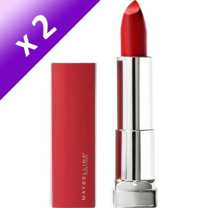 MAYBELLINE Rouge à lèvres New York Color Sensation Made For All - 382 Red For Me (Lot de 2)