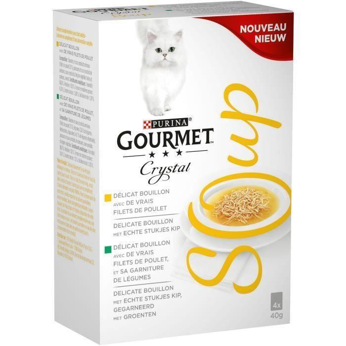 GOURMET Crystal Soup recettes au poulet - Pour chat adulte - 4 x 40 g (Lot de 3)