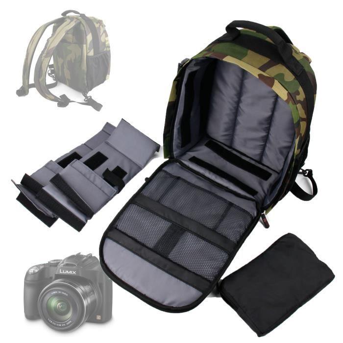 Sac à dos de transport et de rangement pour appareil photo Panasonic Lumix DMC-FZ72 et DMC-LZ30E - motif camouflage vert tendance
