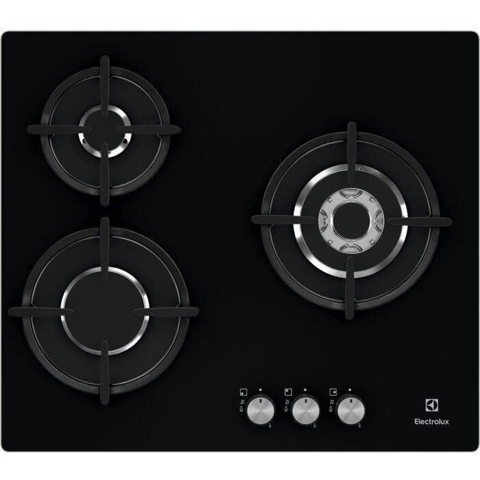 ELECTROLUX EGT6633NOK - Plaque de cuisson gaz - 3 foyers - 7900W - L56 x P48 x H4,5cm - Revêtement verre - Grilles en fonte - Noir