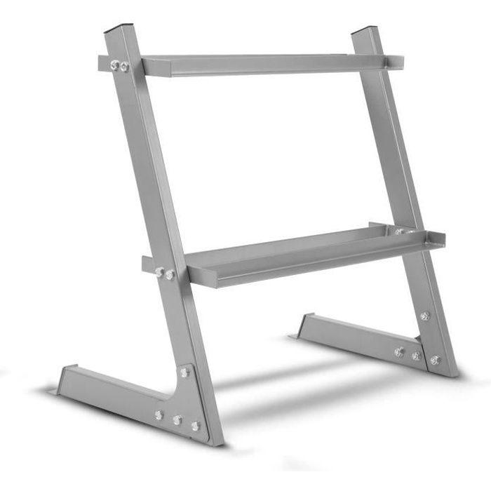 ISE Rack de Rangement pour Poids et haltères,Support Haltères Repose Musculation,Charge Max. 110 kg,Râtelier a 2 Niveaux,argent