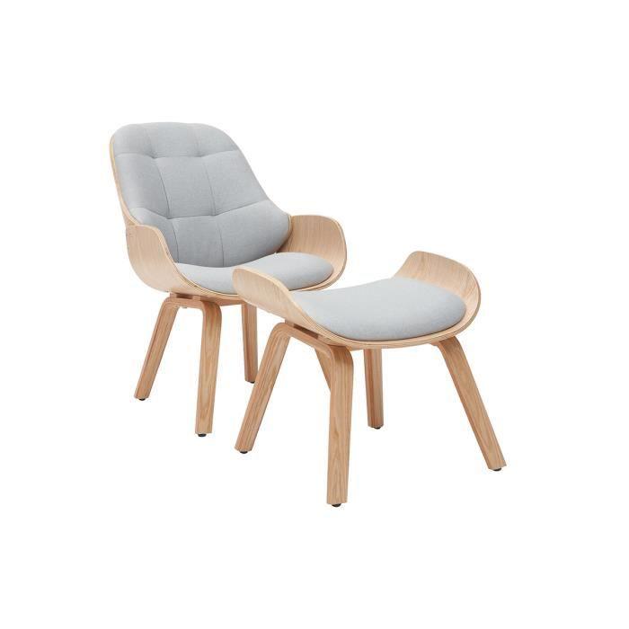Miliboo - Fauteuil design avec repose-pieds tissu gris clair et bois VIVI