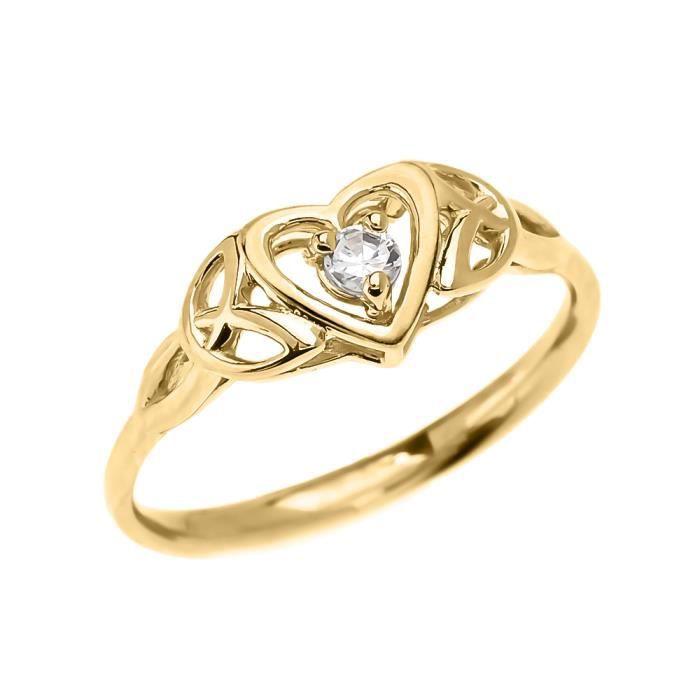 Bague Femme Trinité Nœud Cœur Solitaire Diamant 14 Ct Or Jaune