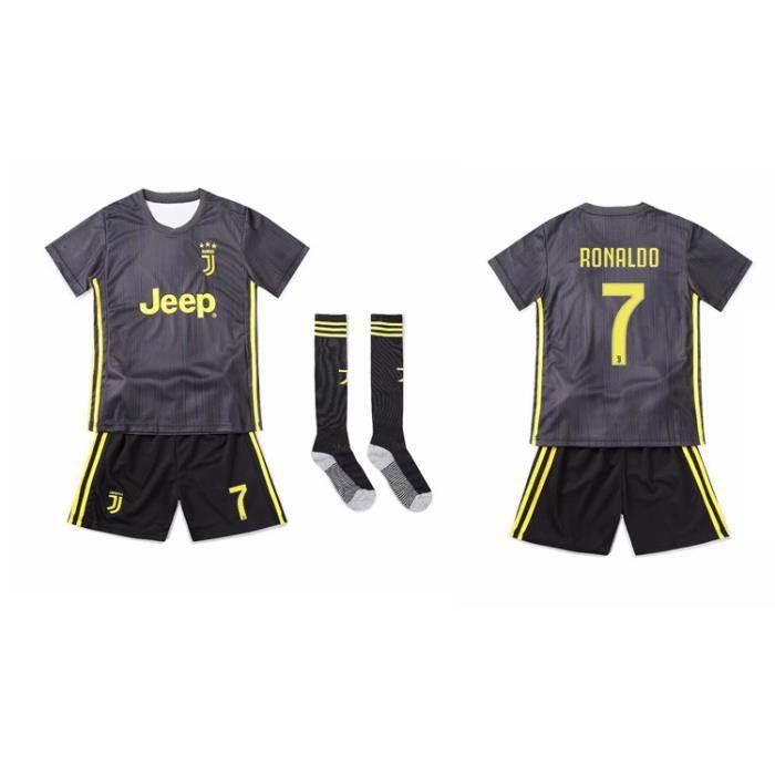 Maillot de Football, Combinaison De Sport Cristiano Ronaldo 7 CR7 Maillot et Short Juventus Vêtement De Sport De Football T-Shirt