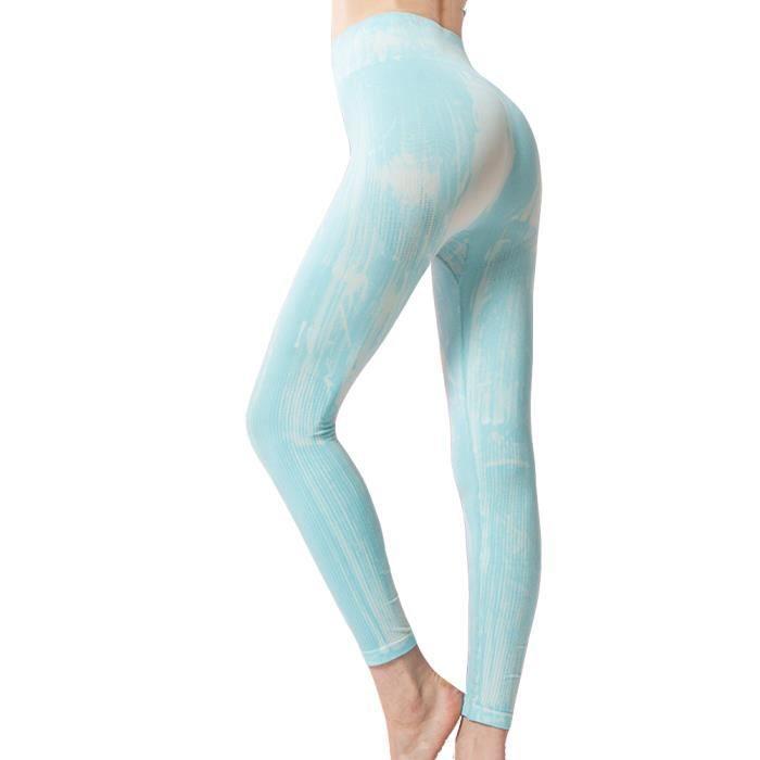 Leggings de Compression sans Couture Tie-dye pour Femme,Collant de Sport Mince et Très élastique, Taille Haute Bleu clair