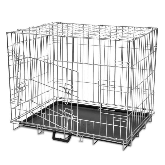Cage de transport métallique et pliable pour chiens M