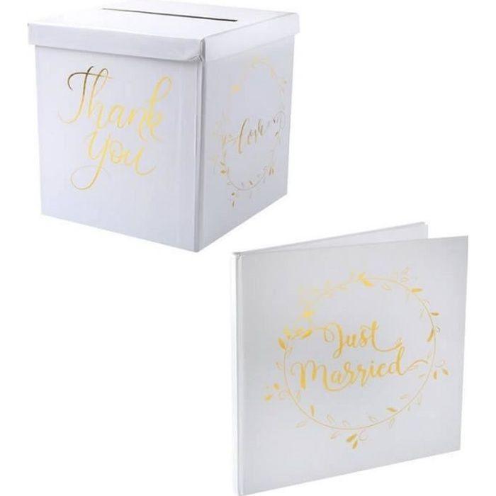 1 Pack Urne + livre d'or mariage just married blanc et doré métallique.
