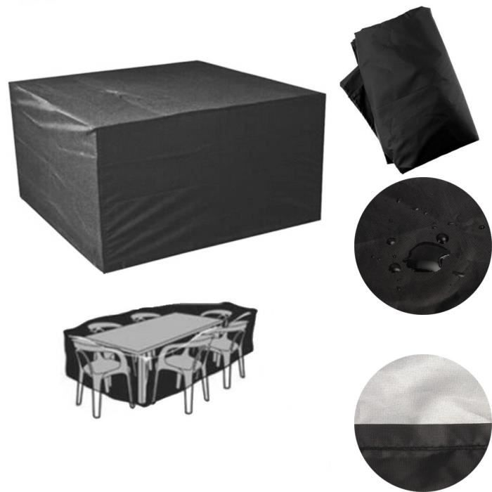 TEMPSA Bâche couverture de meuble de jardin protection table patio chaise 250 x 250 x 90cm