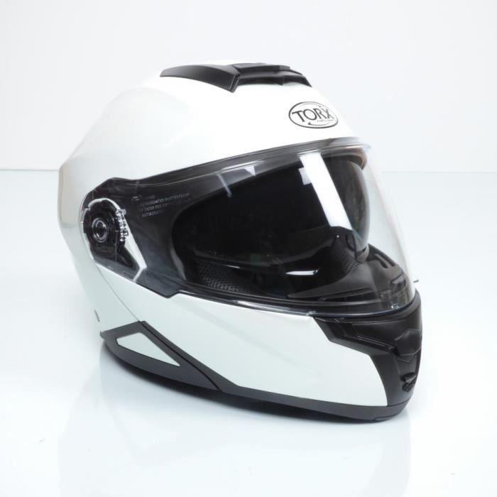 Casque modulable blanc brillant Torx Neil 2 TailleXL visière solaire moto scoot