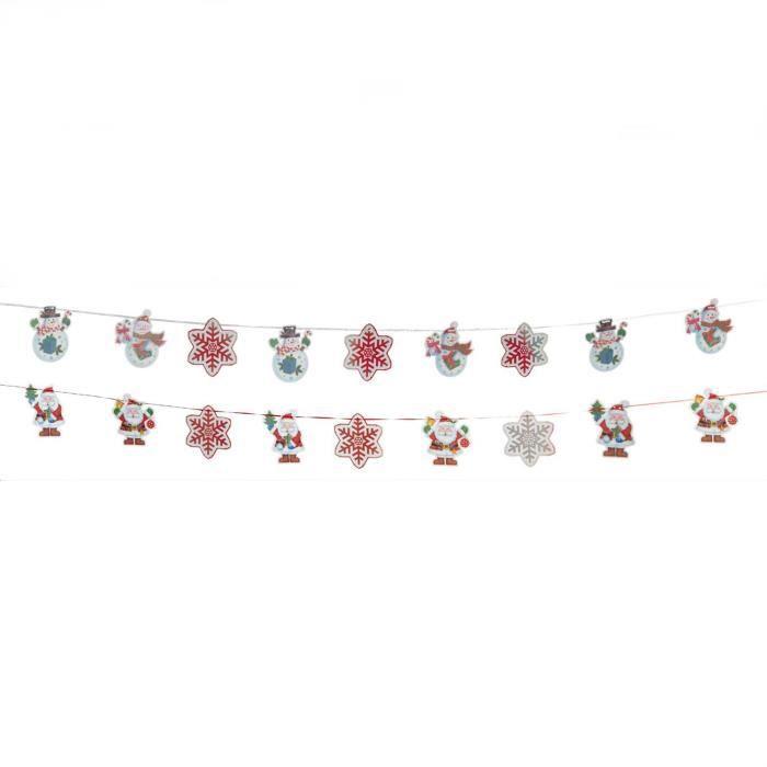 Bonhomme de neige et flocons de neige de Noël de 2 m de décoration holographique 9 pièces 3D, guirlande avec ruban de TRIXES