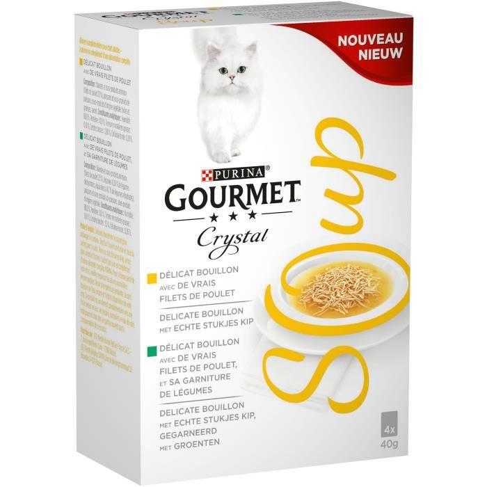 GOURMET Crystal Soup recettes au poulet - Pour chat adulte - 4x40 g