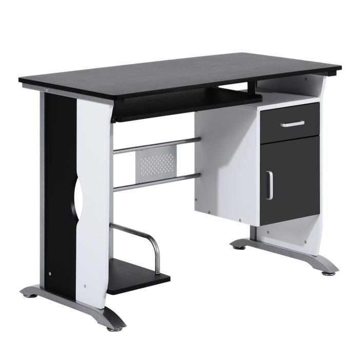 Bureau Informatique Design En Mdf 100 L X 52 I X 45h Cm Noir Et
