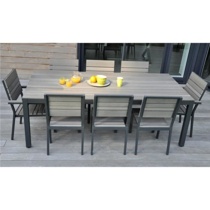 Salon de jardin 8 places alu bois composite brooklyn achat vente salon de jardin salon de - Salon de jardin composite ...