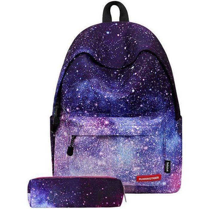 Sac à dos d'école Cartable Scolaire Fille + Une Trousse à crayons Classique Grande Taille 20-35L Deux Pièce Violet