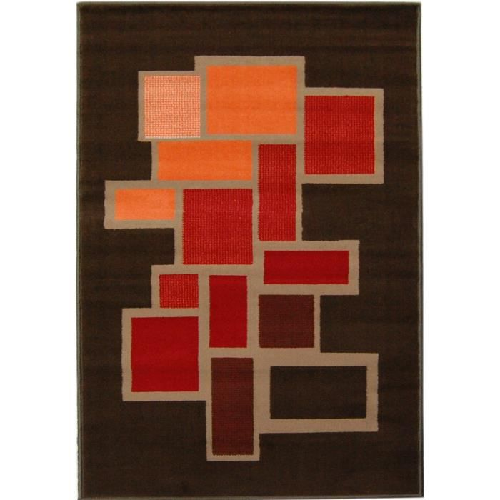 Tapis PARIS salon MARRON ORANGE BORDEAUX 80X150 CM - Achat / Vente ...