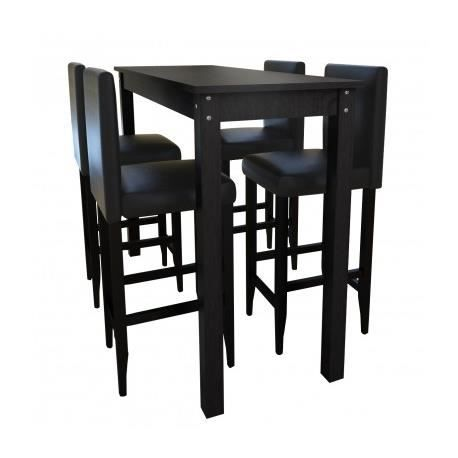 table bar mange debout 4 tabourets noir maja achat vente mange debout table bar mange. Black Bedroom Furniture Sets. Home Design Ideas