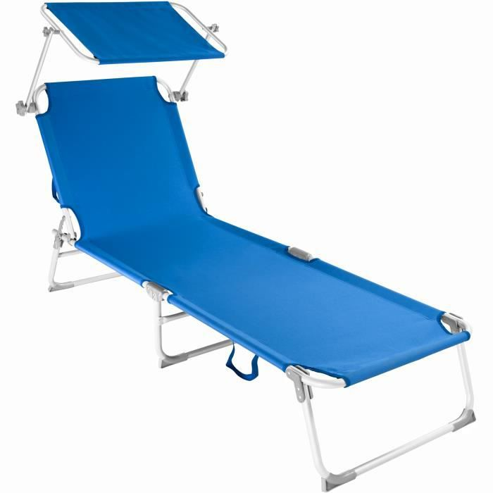 chaise longue transat bain de soleil pare soleil pliable aluminium 190 cm bleu tectake x 1. Black Bedroom Furniture Sets. Home Design Ideas
