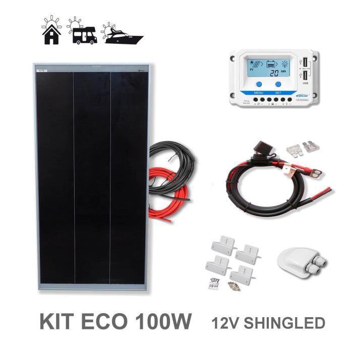 Kit 100W CAMPER 12V panneau solaire monocristallin cellules allemandes plaque ca