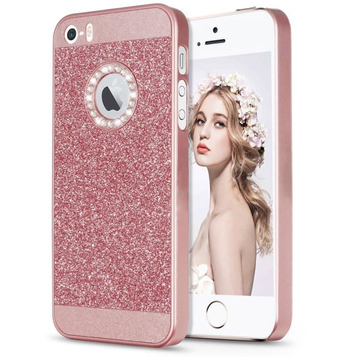 coque housse iphone se 5s 5 or rose bling luxe pla