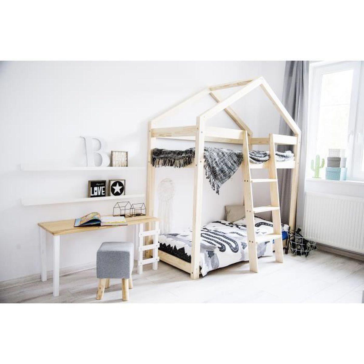Lit Superpose Cabane Maison En Pin Bois Massif 80x190