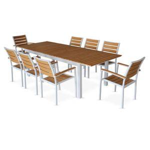 Salon de jardin 8 fauteuils, table à rallonge extensible 205 ...
