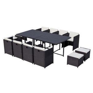 Ensemble table et chaise de jardin Sunset 12 : salon de jardin encastrable 12 places