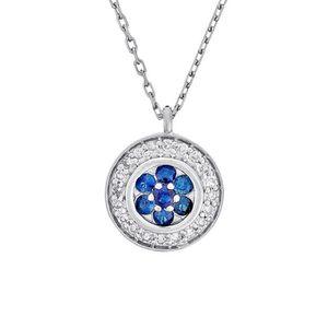 SAUTOIR ET COLLIER Collier Or Blanc, Diamants 0,07 carats et Saphir 0