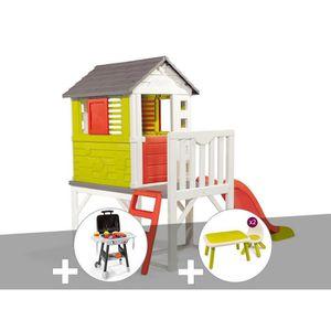 MAISONNETTE EXTÉRIEURE Cabane enfant Pilotis - Smoby + Plancha + Table et